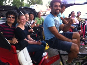 Get a bunch of the Guys Together and do something wacky that you have never done before! Pedicab tours are perfect for everyone!